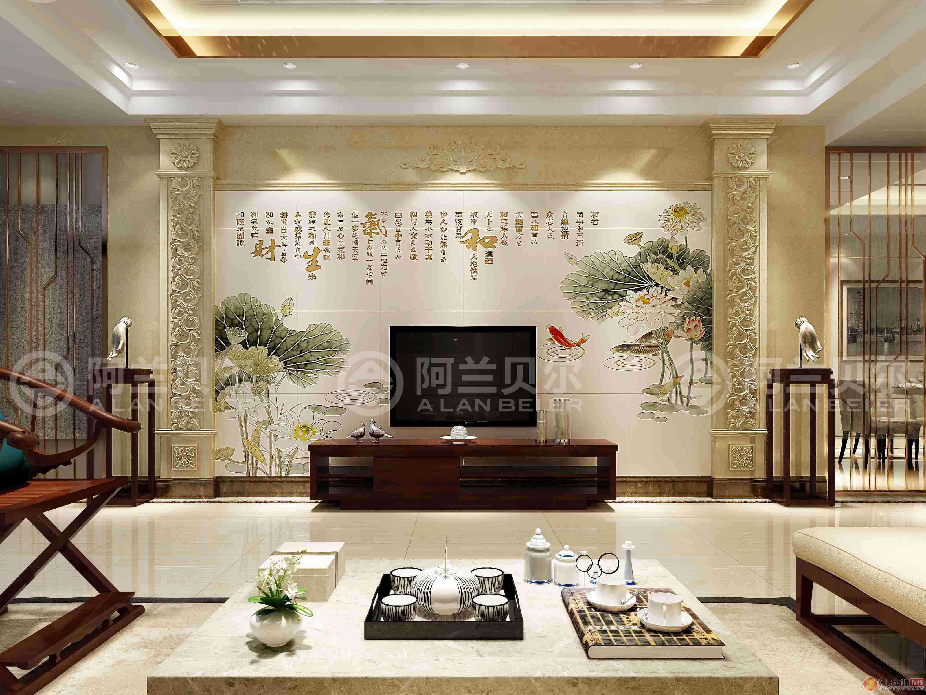 瓷砖背景墙中式风格家装效果图